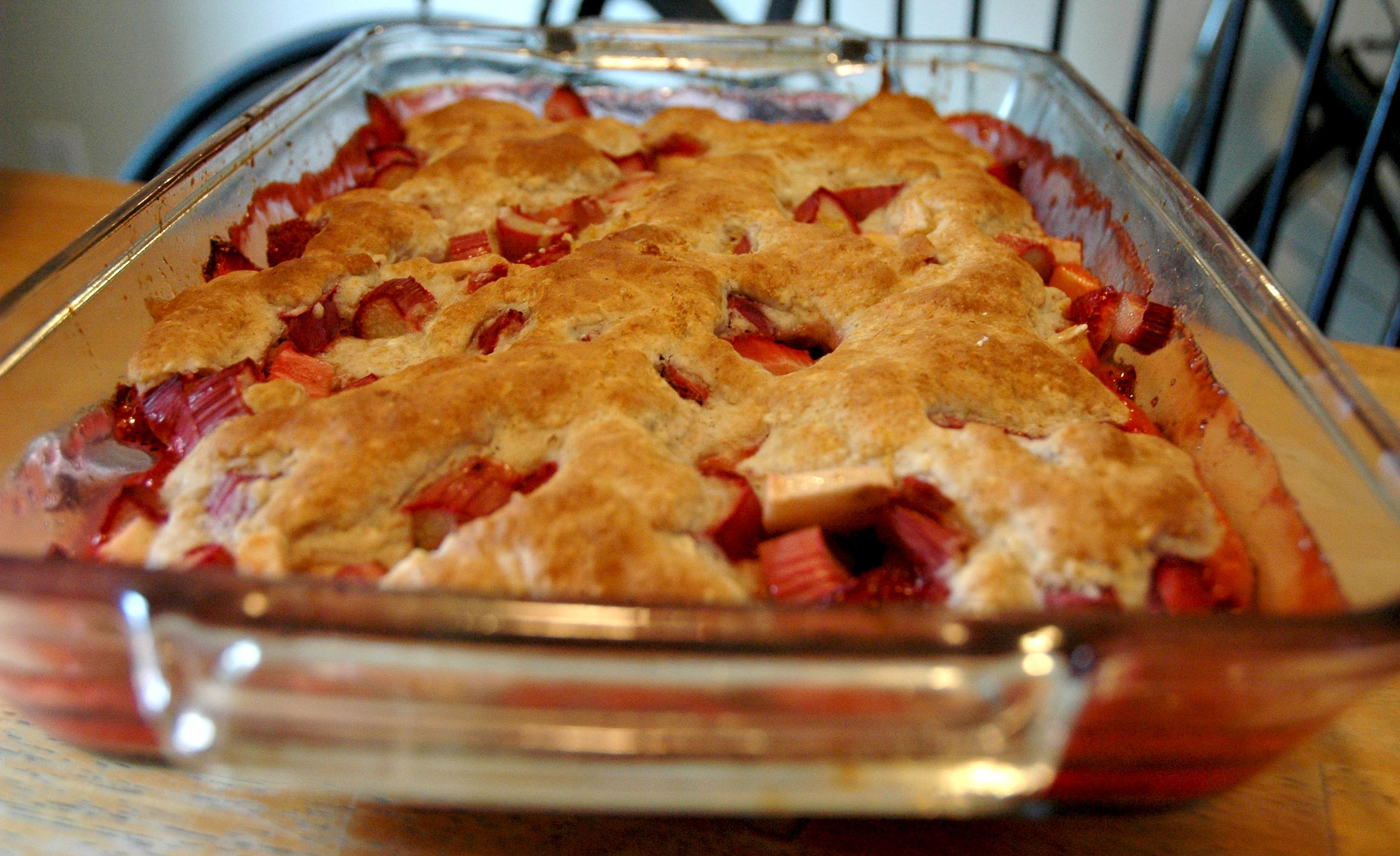 lightened up strawberry rhubarb cobbler
